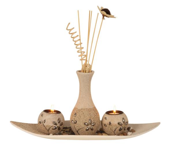 Modernes 3-teiliges Teelichthalter Set inklusive Vase Höhe 37 cm