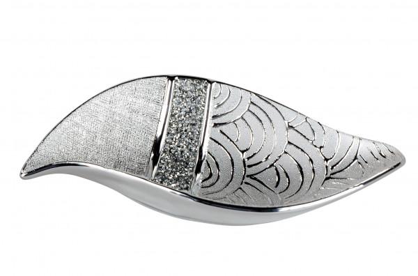 Moderne Dekoschale Obstschale Schale aus Keramik silber mit Strass Steinen veredelt Länge 27 cm