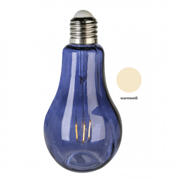 Modern and exclusive decorative light glass bulb blue height 22 cm