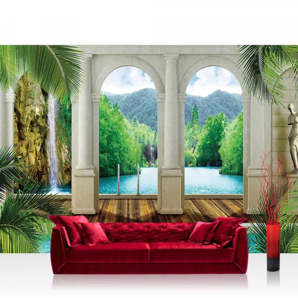 Vlies Fototapete Wasser Tapete Palme Wasserfall Wasser Bogen grün