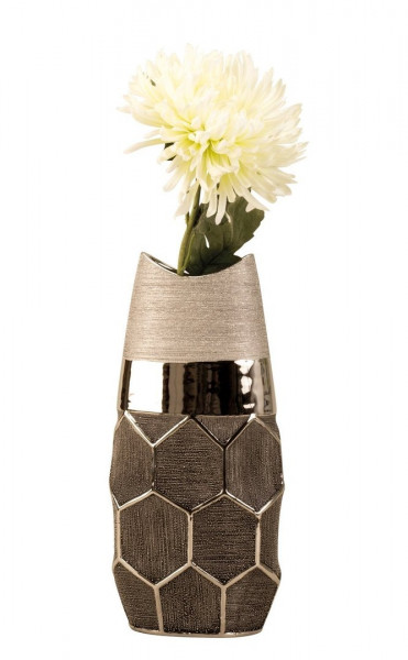 Modern decoration vase flower vase silver made of ceramic with honeycomb pattern Height 36 cm Width