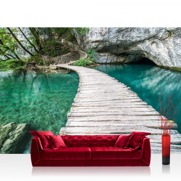 Vlies Fototapete Meer Tapete Natur Wasser Holzweg Romantisch rot