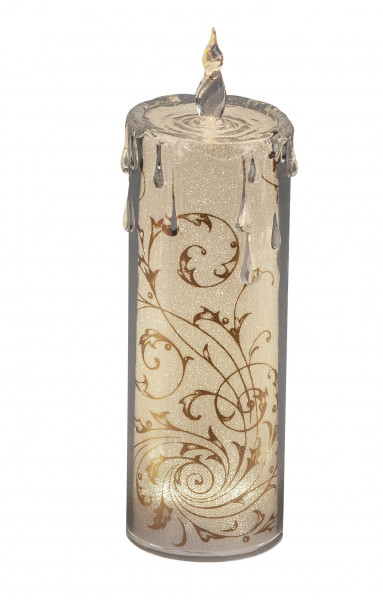 Moderne LED Kerze Flammenlose Kerze aus Acryl gold Dekorations-Kerzen-Säulen Realistisch flackernde