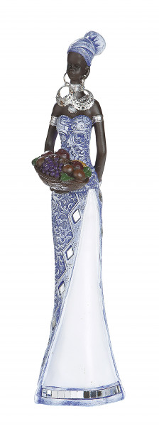 Modern sculpture decoration figure African woman blue / white / brown in 2 possible variations Height 28 cm