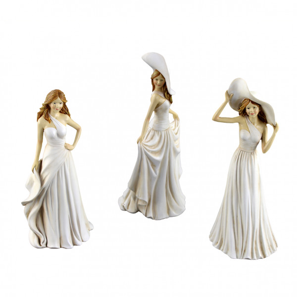 Modern figurines women with hat sculptures standing set of 3 poly beige height 26 cm