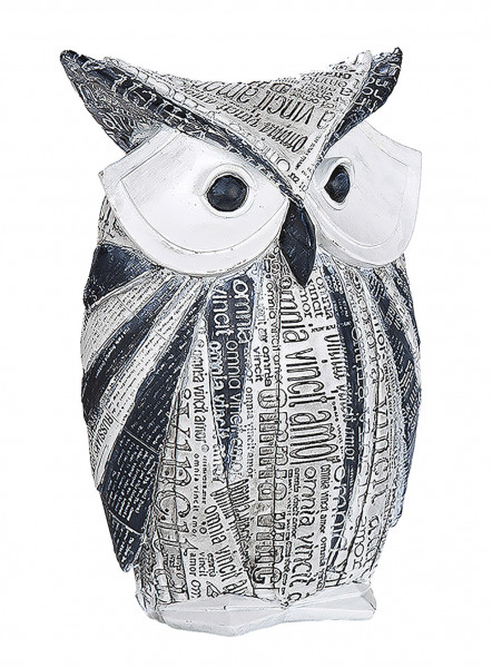 Modern sculpture deco figurine owl made of artificial stone white and gray Height 20 cm Width 14 cm