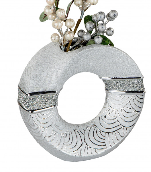 Moderne Dekovase Blumenvase Tischvase Vase aus Keramik Silber glänzend und matt 19x19 cm