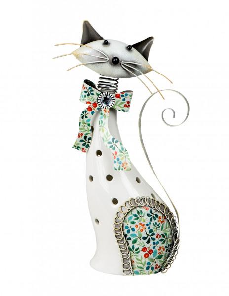 Modernes Windlicht Teelichthalter Windlichthalter in Form einer Katze aus Keramik/Metall weiß Höhe 3