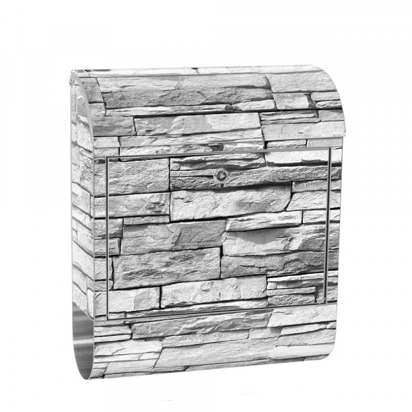 Stainless Steel Letterbox with Newspaper roll & Motif stone wall Stone Optics | No. 0127