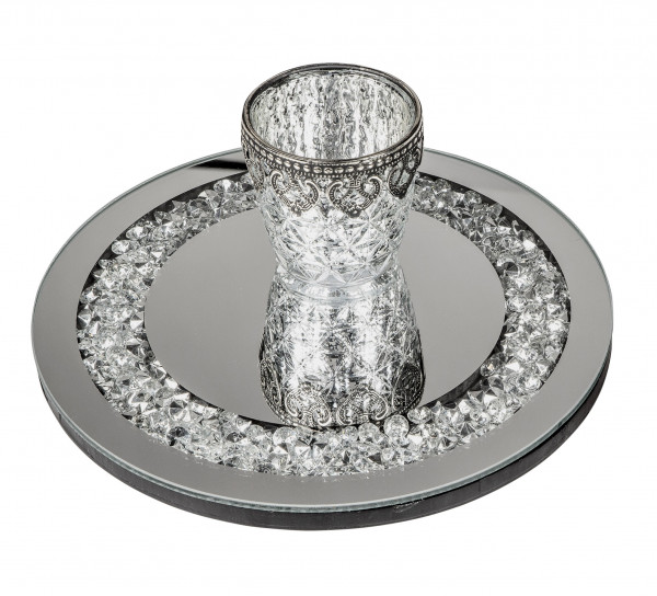 Beautiful saucer trivet made of wood and mirror glass silver diameter 25 cm