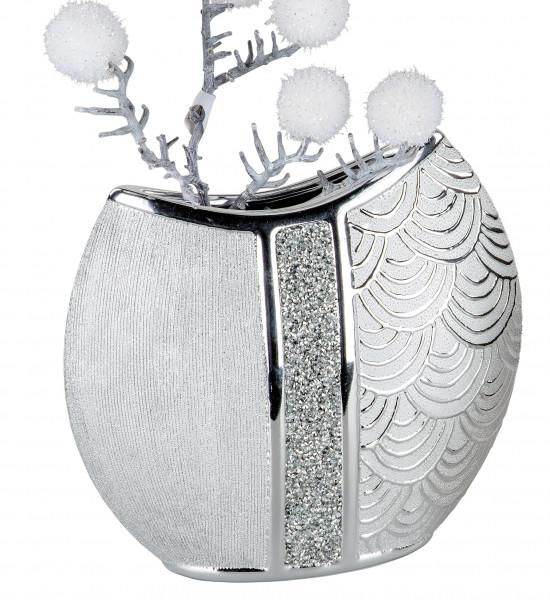 Moderne Dekovase Blumenvase Tischvase Vase aus Keramik Silber glänzend und matt 24x23 cm