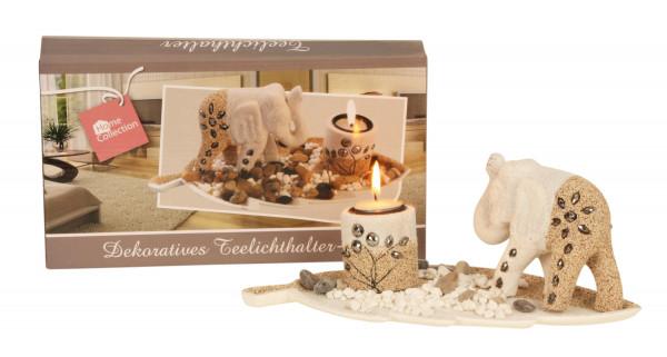 Modernes 3-teiliges Teelichthalter Set inklusive Elefanten Skulptur Länge 30 cm Höhe 11 cm