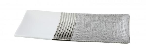 Moderne Dekoschale Obstschale Schale aus Keramik weiß/silber Länge 31 cm Breite 14 cm