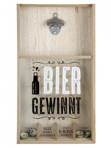 Tolles Kronkorkenspiel Flaschenöffner Bier gewinnt aus hochwertigem MDF Holz zur Wandbefestigung 26x