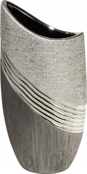 Modern deco vase flower vase ceramic table vase silver / gray height 20 cm