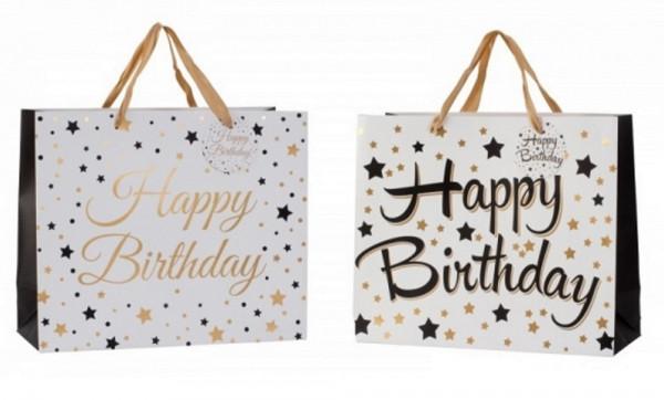 Moderne Geschenktüten Happy Birthday im 4er Set Abmessung 31x26x12 cm