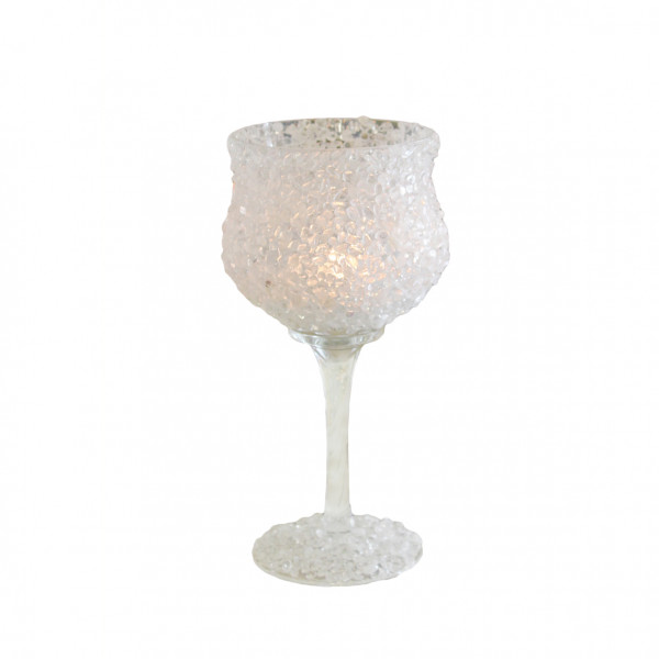 Modern stone glass lantern tealight holder goblet Christmas glass white 12x25 cm