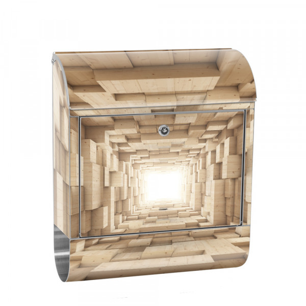 Edelstahlbriefkasten mit Zeitungsrolle & Motiv Abstrakt Holz 3D | no. 0944