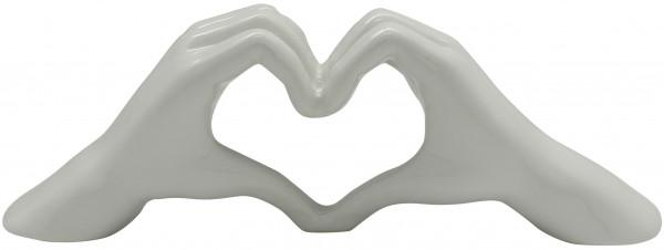 Modern Sculpture Dekofigur Hand Heart Ceramic Ceramic silver or white 31x11 cm * 1 piece *