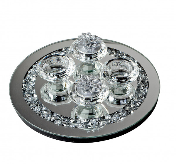Modern tealight holder Wind light holder 5 pieces of glass transparent decorated with stones D 25 cm