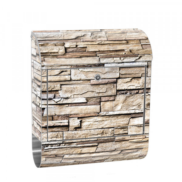 Stainless Steel Letterbox with Newspaper roll & Motif stone wall Stone Optics | No. 0135
