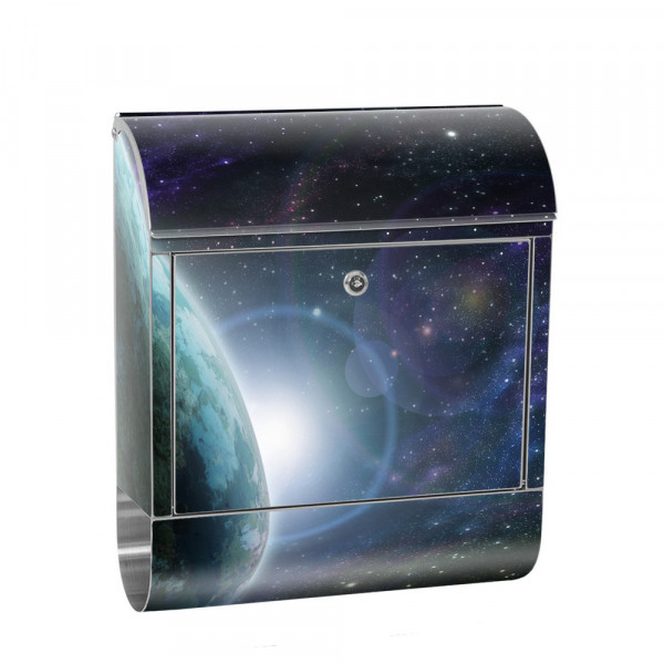 Stainless Steel Letterbox with Newspaper roll & Motif Space Earth Moon | No. 0229