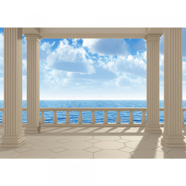 Vlies Fototapete Terrace View Silent Ocean Meer Tapete Ausblick Terrasse Seeblick 3D Strand Sonne