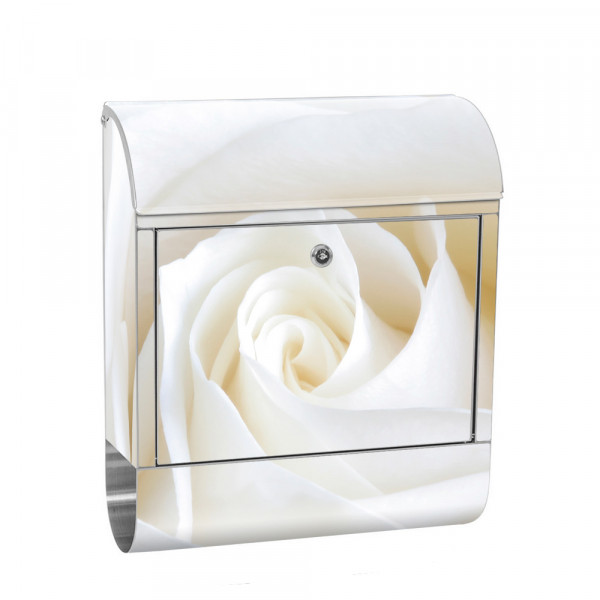 Stainless Steel Letterbox with Newspaper roll & Motif rose flowers blossom Classy | No. 1099