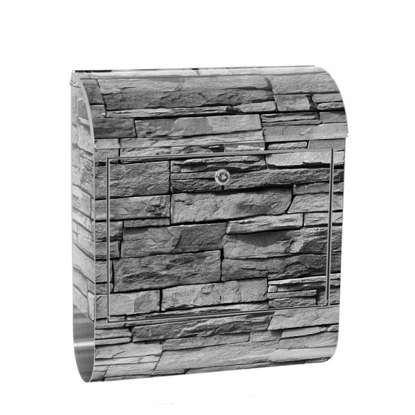 Stainless Steel Letterbox with Newspaper roll & Motif stone wall Stone Optics | No. 0126