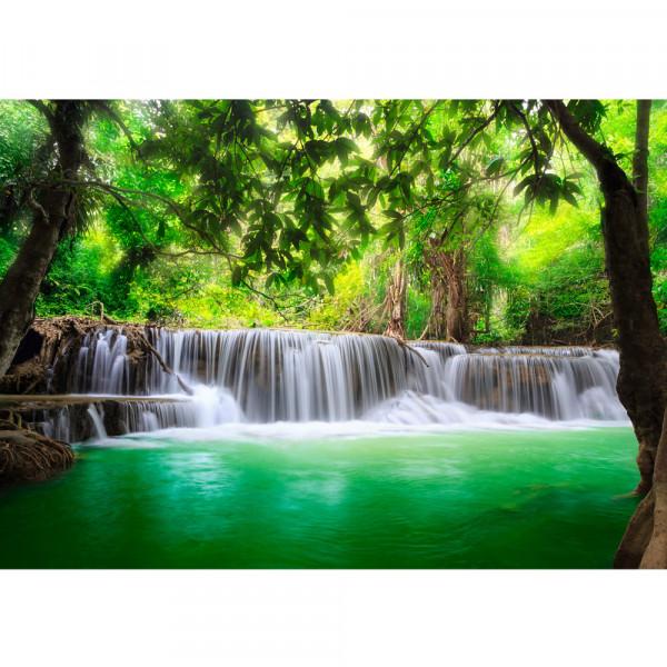 Vlies Fototapete Deep Forest Waterfalls Natur Tapete Wasserfall Bäume Wald Thailand See Wasser Meer