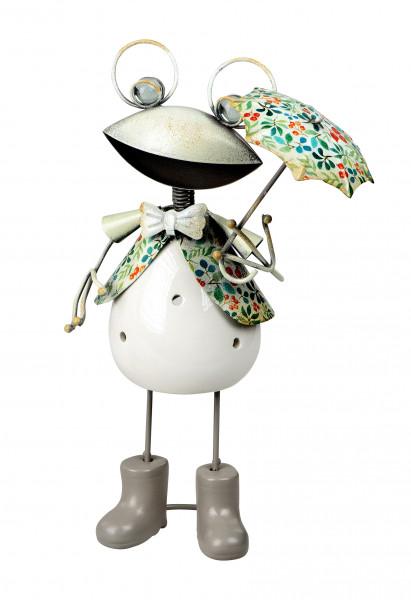 Modernes Windlicht Teelichthalter Windlichthalter in Form eines Froschs aus Keramik/Metall weiß Höhe
