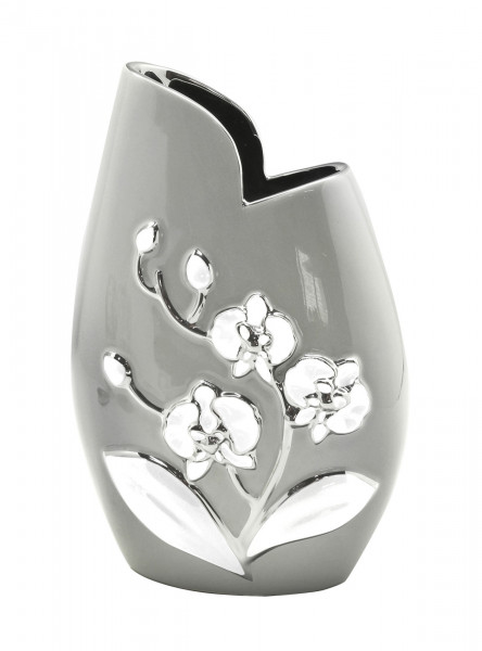 Modern deco vase flower vase ceramic table vase gray / white / silver 16x25 cm