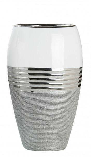 Modern deco vase flower vase oval ceramic white / silver 24x14 cm
