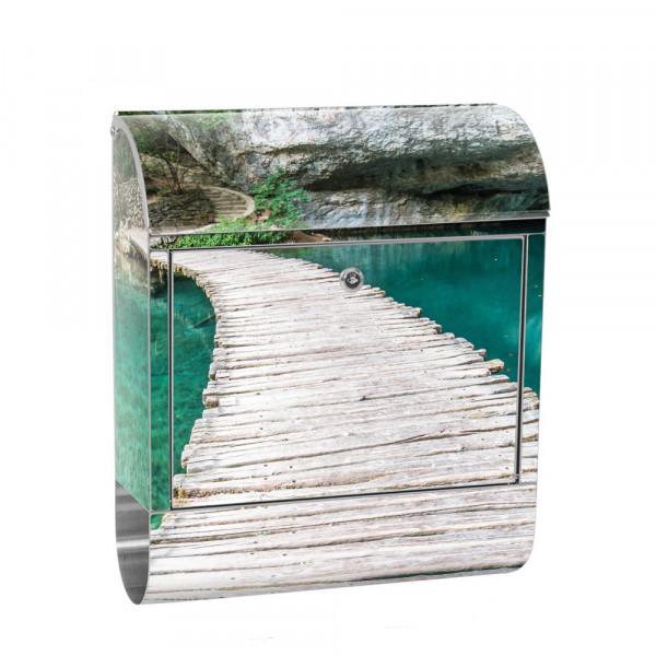 Edelstahlbriefkasten mit Zeitungsrolle & Motiv Natur Wasser Holzweg | no. 0268
