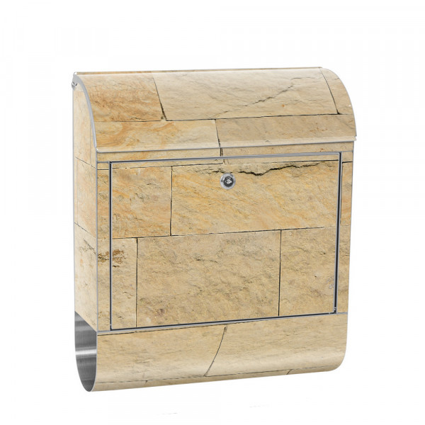 Stainless Steel Letterbox with Newspaper roll & Motif Sandstone stone nature | No. 4301