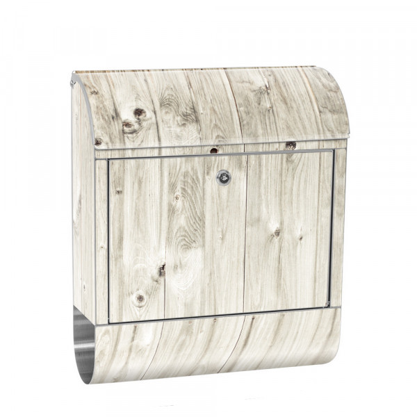 Stainless Steel Letterbox with Newspaper roll & Motif Wood Optics white Wood | No. 0091