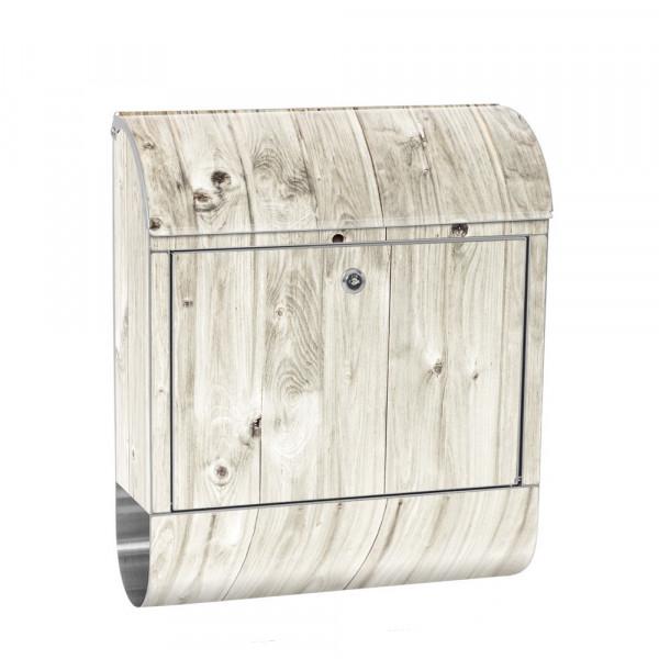 Edelstahlbriefkasten mit Zeitungsrolle & Motiv Holzoptik weißes Holz | no. 0091