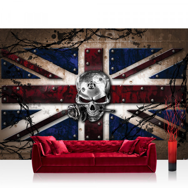 Vlies Fototapete Illustrationen Tapete Alchemy Wrought Iron Kingdom Totenkopf Rose England silber