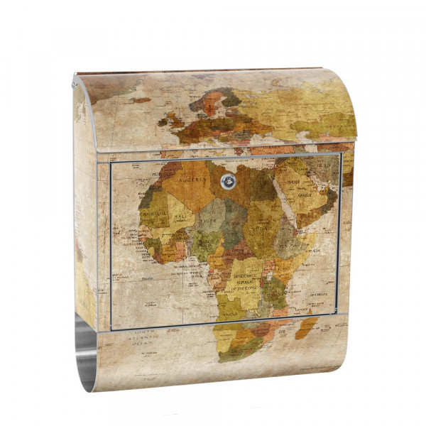Stainless Steel Letterbox with Newspaper roll & Motif world map of old Atlas | No. 0029