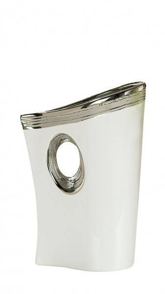 Moderne Deko Vase Blumenvase Tischvase aus Keramik weiß/silber Höhe 26 cm Breite 17 cm