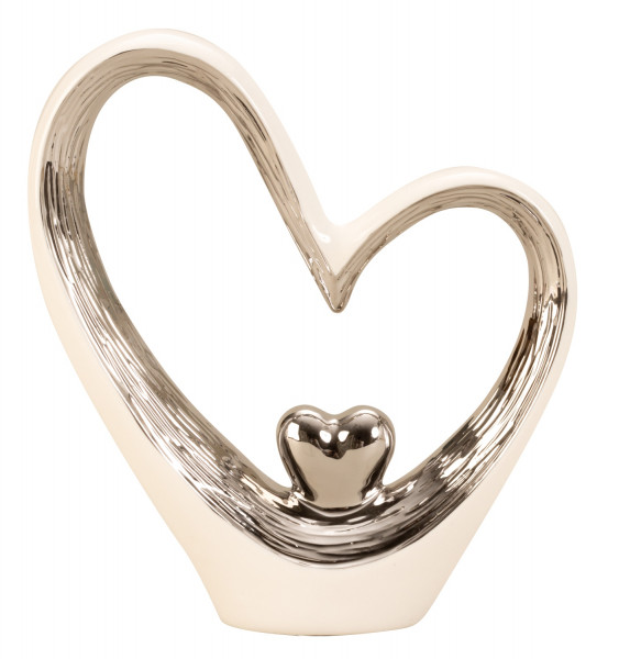 Modern sculpture Heart love from ceramics in white / silver Height 29,5 Width 25 cm