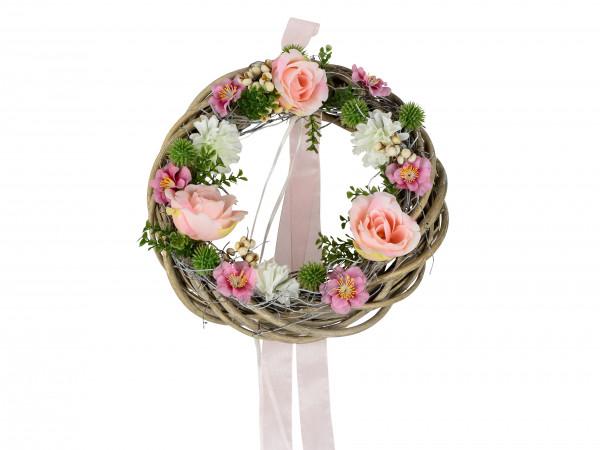 Wunderschöner Sommerkranz Türkranz Rose rosa Rattankranz aufwendig mit Blumen arrangiert mit Deko Bä