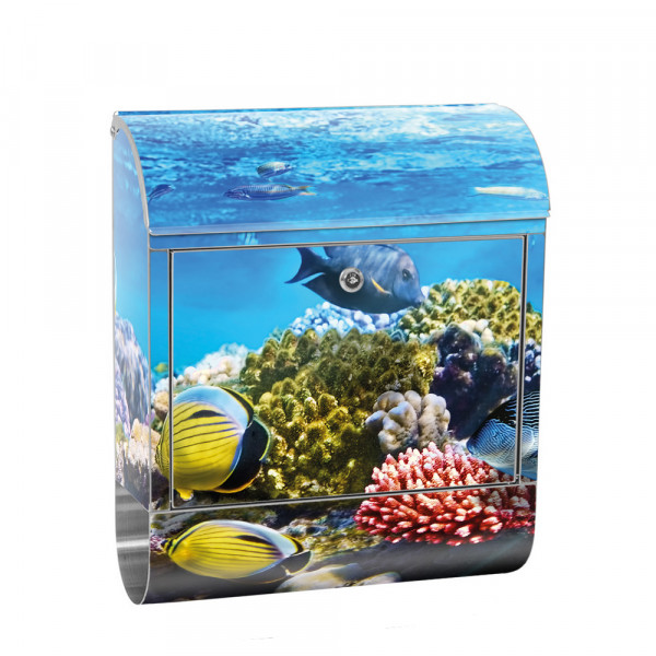 Stainless Steel Letterbox with Newspaper roll & Motif sea world Fish Reef | No. 0105