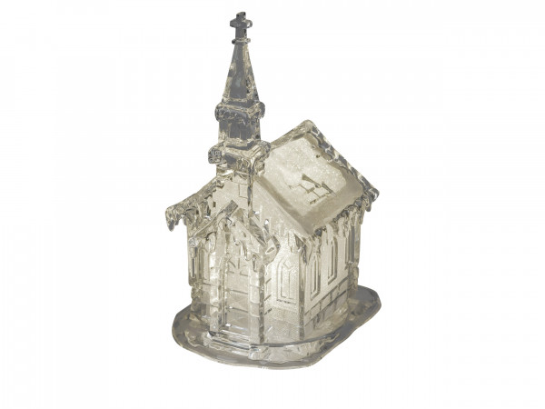 Wunderschöne Winterkirche kunstvoll gestaltet inklusive Beleuchtung aus Acryl Höhe 25 cm