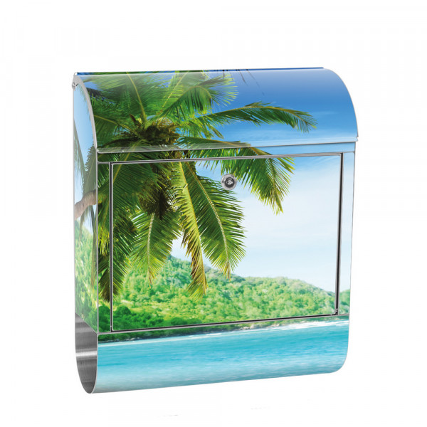 Stainless Steel Letterbox with Newspaper roll & Motif beach sea Palm Tree | No. 0005