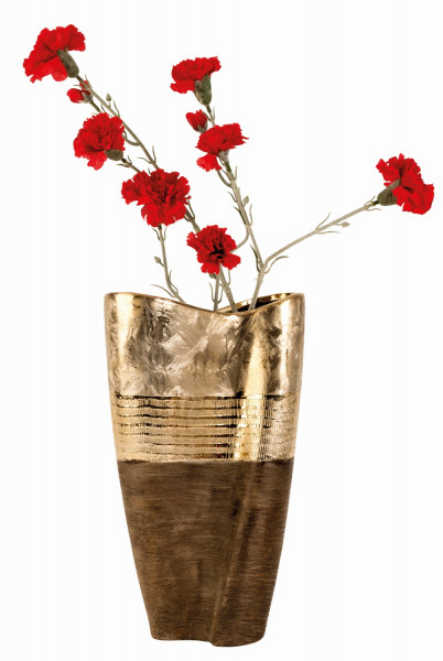 Moderne und große Deko Vase Blumenvase aus Keramik gold/braun Höhe 35 cm