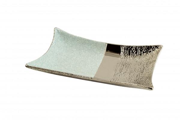 Wunderschöne Dekoschale Obstschale Schale Teller aus Keramik aqua / silber 34x20 cm