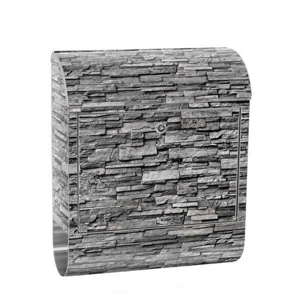 Stainless Steel Letterbox with Newspaper roll & Motif stone wall Stone Optics | No. 0143