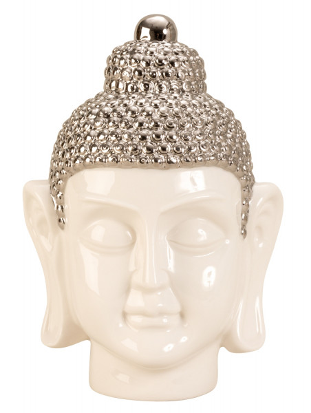 Moderne Skulptur Buddha Kopf aus Porzellan in weiß/silber Höhe 24,5 cm