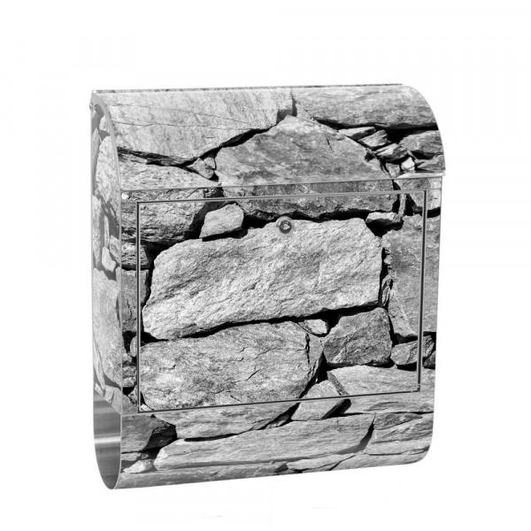 Edelstahlbriefkasten mit Zeitungsrolle & Motiv Steinmauer Steinoptik | no. 0008